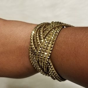 Nwt Light Tan Gold Studded Wrap Bracelet